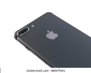 San Francisco, California, USA - 7 September, 2016: Isolated 3d render of back view iPhone 7 Plus black color. The iPhone 7 Plus is new smart phone produced by Apple Computer, Inc.