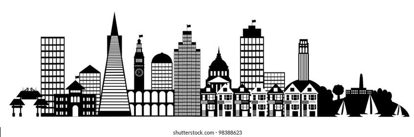 San Francisco City Skyline Panorama Black and White Silhouette Clip Art Illustration