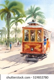 San Francisco Street Cable Car Watercolor Urban Scene with People Hand Painted Illustration