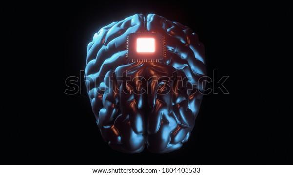 San Francisco, USA - august 28, 2020: Neuralink product presentation. Brain to computer interface 3d illustration