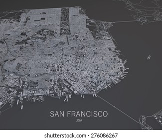 San Francisco, Usa, satellite map view, map in negative, 3d roads and buildings