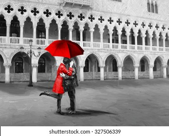 San Marco. Black and white pictures with colour, red detail. Digital illustration in oil painting style.