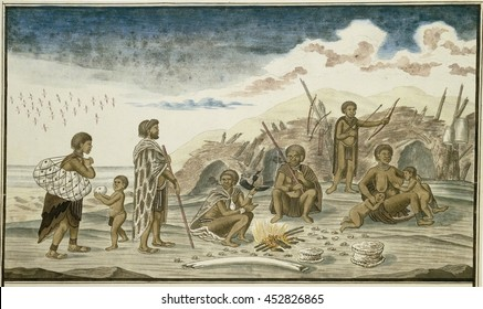 The San People and their Huts on the Beach, by Robert Jacob Gordon, 1777-86, Scottish drawing, watercolor, ink, on paper. Hunter gathers at a fire with bivalve shells scattered about. At left, a wome