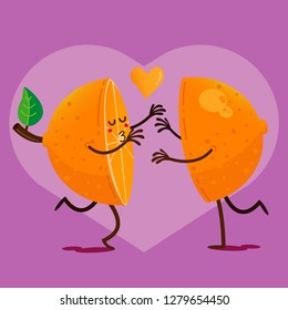San Valentines Day Orange love, Hug cartoon