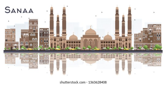 Sanaa Yemen City Skyline with Color Buildings and Reflections Isolated on White Background. Tourism Concept with Historic Buildings. Sanaa Cityscape with Landmarks.