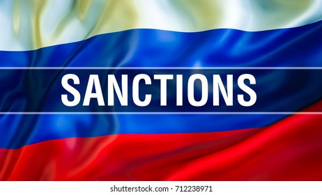 Sanction on Russia flag waving in the wind. Sanctions on russia concept. Russia trade EU sanctions against sanction list concept. Government sanctions Against russia concept