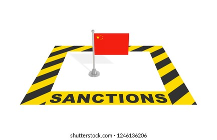Sanctions against China (economic political financial concept). Chinese flag in black yellow striped restricted warning zone with text inscription. 3d illustration