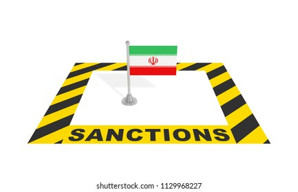 Sanctions against Iran (economic political financial concept). Iranian flag in black yellow striped restricted warning zone with text inscription. 3d illustration