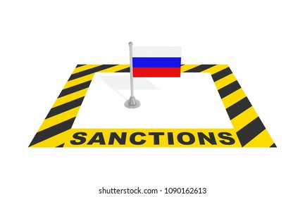 Sanctions against Russia (economic political financial concept). Russian flag in black yellow striped restricted warning zone with text inscription. 3d illustration