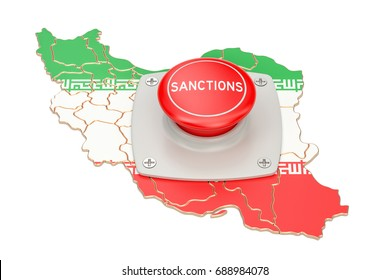 Sanctions button on map of Iran, 3D rendering isolated on white background