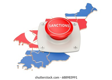 Sanctions button on map of North Korea, 3D rendering isolated on white background