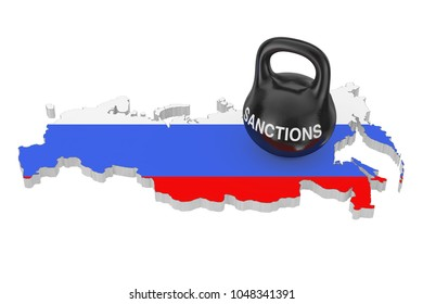 Sanctions Concept. Black Iron Kettlebell with Sanctions Sign over Russia Map with Flag on a white background. 3d Rendering