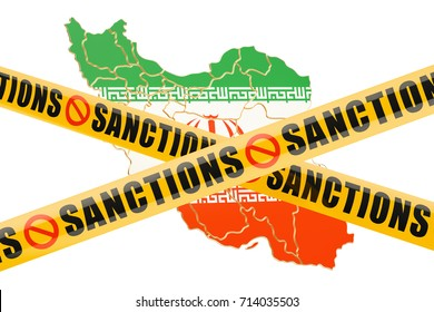 Sanctions concept with map of Iran, 3D rendering isolated on white background