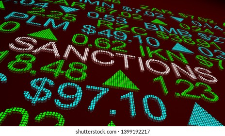 Sanctions International Import Export Tariffs Punishment Stock Market 3d Illustration