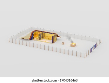 Sanctuary tabernacle 3d rendering of the wilderness tent described in Bible Exodus. Old Testament Religious imagery illustration. Cutaway diagram.