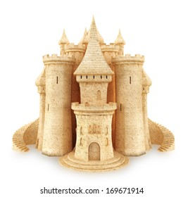 Sand Castle on a white background