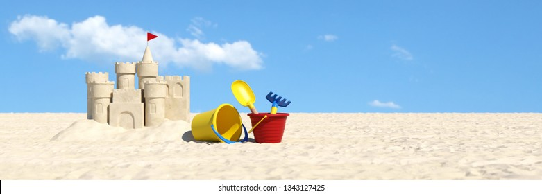 Sand castle and sand toys on the beach on summer vacations (3d Rendering)