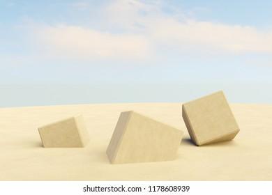 sand cubes - 3D illustration
