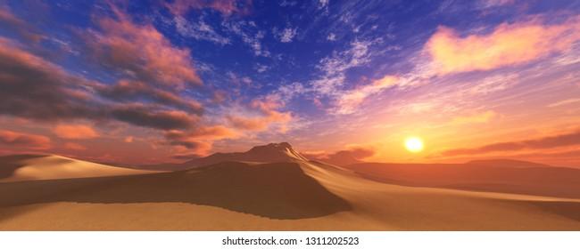 Sand desert at sunset, sunrise in the desert, sand under the sun, clouds over the desert, panorama, 3d rendering