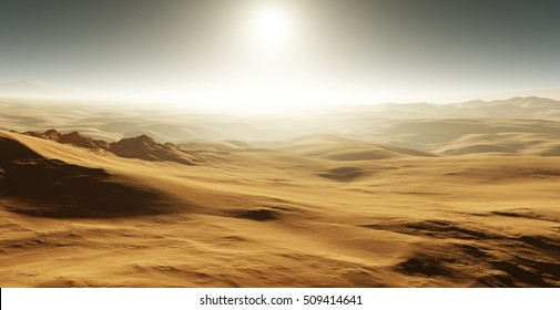 Sand dunes on Mars. Sunset on Mars. Martian landscape with sand dunes. 3D rendering