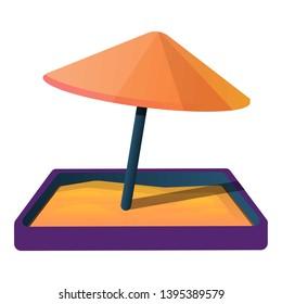 Sandbox with umbrella icon. Cartoon of sandbox with umbrella icon for web design isolated on white background