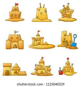 Sandcastle beach icons set. Cartoon illustration of 9 sandcastle beach icons for web