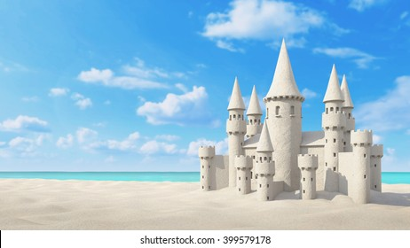 Sandcastle beach on bright sky. 3d rendering