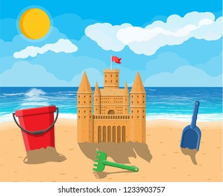 Sandcastle sculpture. Plastic bucket with rake, shovel. Fortress with towers. Kids children leisure fun game playground. Beach, sea, sun, sky with clouds. illustration flat style
