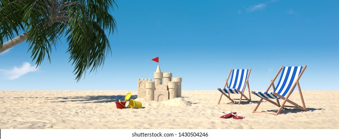 Sandcastle and sunbeds on beach with palm tree under blue sky (3d rendering)