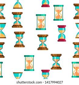 Sandclock Icon Seamless Pattern . Timer Symbol. Interval Sandclock Icons Sign. Alarm Hourglass Pictogram. Illustration