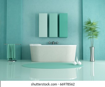 sandstone bathtub in a green modern bathroom - rendering