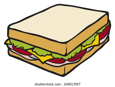 cartoon sandwich images stock photos vectors shutterstock https www shutterstock com image illustration sandwich 104017097
