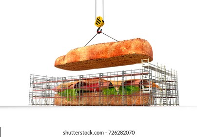 Sandwich Assembly Construction - 3D Rendering