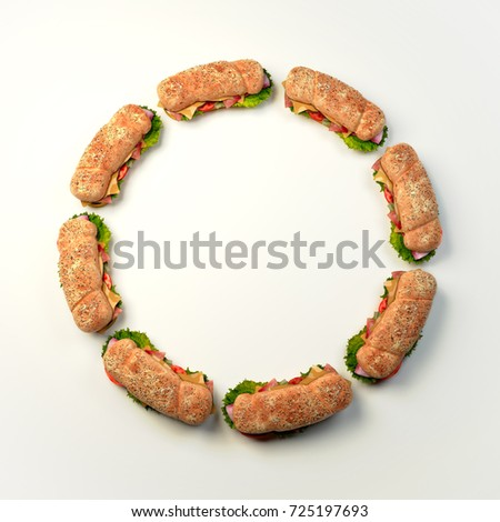 sandwich circle food border 3 d rendering stock illustration