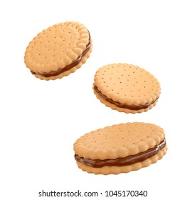 Sandwich cookies with chocolate fill, 3d illustration for biscuit package design.