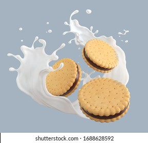 Sandwich cookies with cream and milk splash, 3d illustration for biscuit package design.
