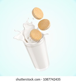 Sandwich cookies with Milk splash, 3d illustration for biscuit package design.