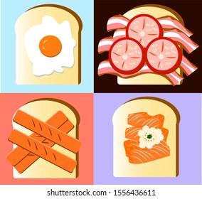 sandwich egg bacon hotdog salmonfish illustration cartoon