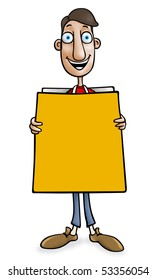 Sandwich man with blank board for message
