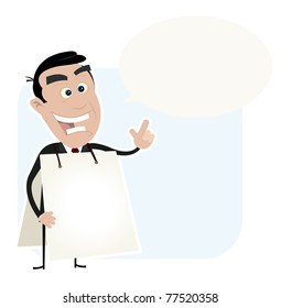 Sandwich man Businessman/ Illustration of a happy businessman holding sign with bubble speech