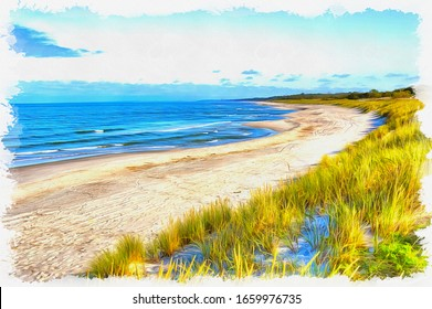 The sandy beach on the Baltic Sea coast near the town of Baltiysk. Oil paint on canvas. Picture with photo, imitation of painting. Illustration