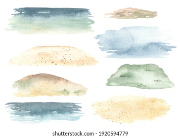 Sandy beach, sea, hill, sky, watercolor stains. Watercolor sea backgrounds for landscapes