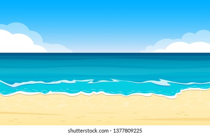Sandy Beach. Summer Background with Sand Shoe, Sea or Ocean and Sky with Clouds. Tropical Landscape for Travel and Vacation Banner.