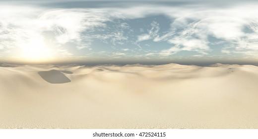 sandy desert. Environment map. HDRI map. Equirectangular projection. Spherical panorama. landscape. 3D rendering.