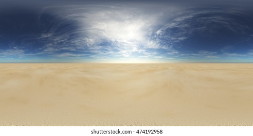sandy desert. Environment map. HDRI map. Equirectangular projection. Spherical panorama. landscape  3D rendering.