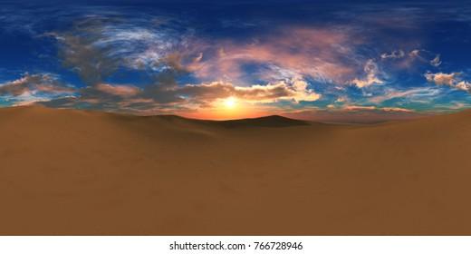 sandy desert. Environment map. HDRI map. Equirectangular projection. Spherical panorama. landscape 3d rendering