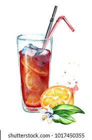 Sangria with orange. Watercolor hand drawn illustration, isolated on white background