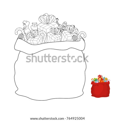 santa bag coloring book christmas sack line style