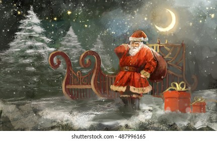 Santa caring gifts for children