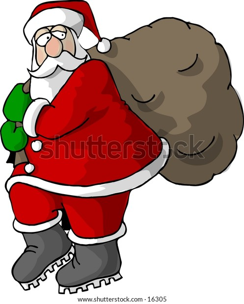 Santa carrying a bag of gifts